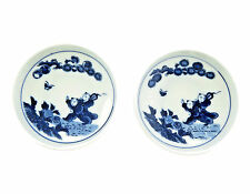 2 Antique Chinese Small Blue and White Porcelain Dish Hand Painted