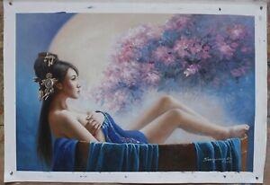 "Fine art original oil painting on canvas bathing Oriental lady beauty 24""X36"""