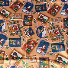 Xmas Poly Satin Sewing Fabric Christmas Santa Red Green Caramel  NOS