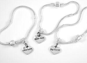 3 sisters bracelet set Baby sister, middle sister and big sister 3 bracelets set