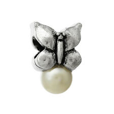Butterfly White Pearl June Birthstone Spacer Charm for European Bead Bracelets