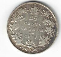CANADA 1919 TWENTY FIVE CENTS QUARTER KING GEORGE V STERLING SILVER COIN
