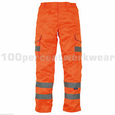 "Size 34""W REG Leg YOKO HV018T ORANGE Hi Vis High Visibility Cargo Combat Trouser"