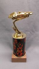 pinewood derby car cubscout trophy orange & black flame column wood base