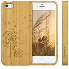 kwmobile HOLZ HARD CASE FÜR APPLE IPHONE SE 5 5S PUSTEBLUME BAMBUSHOLZ COVER
