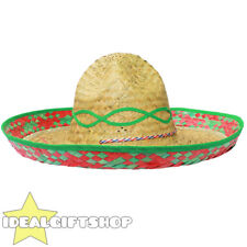 GREEN TRIM MEXICAN SOMBRERO STRAW HAT PACK WHOLESALE LOT FANCY DRESS WESTERN