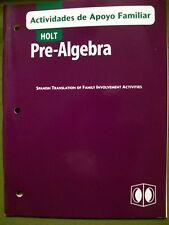 Holt Pre-Algebra: Actividades de Apoyo Familiar by Holt, Rinehart & Winston 2003