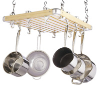MasterClass KitchenCraft Deluxe Ceiling Mounted Wooden Pot Rack 61x51cm, Gift