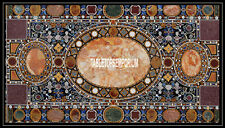 8'x3' Marble Rectangle Dining Table Random Marquetry Inlaid Design Arts Decor