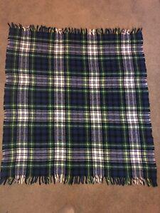 Vtg Faribo Blue Green Tartan Plaid Wool Throw Blanket Faribault Woolen Mills
