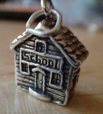 Sterling Silver 3D 18x14x7mm 6 gram School House says School Charm