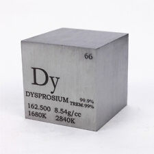 1 inch 25.4mm Lacquered Dysprosium Metal Cube 99.9% 141g Engraved Periodic Table