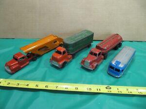 Vintage lot of Tootsietoy Trucks, Bus, Car transporter.