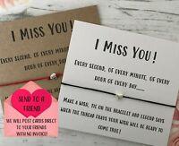 I Miss You Wish String Charm Card Friendship Boyfriend Mum Sister Bracelet Gift