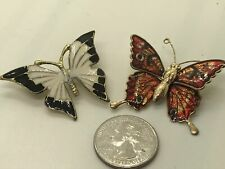 Vintage Gold Pin Brooch D-4921 Lot of 2 Butterflies Painted