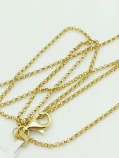 """14k Yellow Gold Round Rolo Link Necklace Pendant Chain 16"""" 1.1mm"""