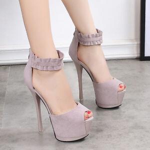 Women's Ankle Strap Sandals Platform Peep Toe High Heels Zip Party Causal Pump