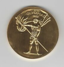 commemorative medal   X.Olympic Games LOS ANGELES 1932 - Gold platet  !!  RARE