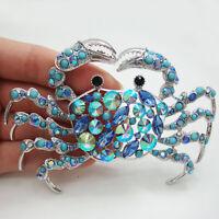Elegant Silver-Tone Crab Brooch Pin Blue Rhinestone Crystal Woman Jewelry