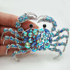 Elegant Silver-Tone Crab Brooch Pin Blue Rhinestone Crystal Woman Jewelry Gift