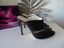 Summer sandals size 4 heels slip on black mock croc faux leather brand new