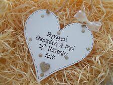 Engagement Gift Wooden Heart Plaque Keepsake