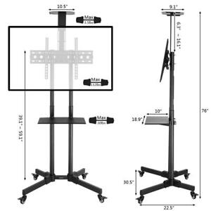 Leadzm Mobile TV Cart Floor Stand Mount Exhibition Trolley for 32 - 70 Screen