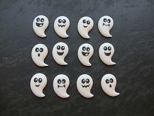 12 EDIBLE SUGAR HALLOWEEN BOO GHOSTS FOR DECORATING CAKE POPS CUPCAKE TOPPERS