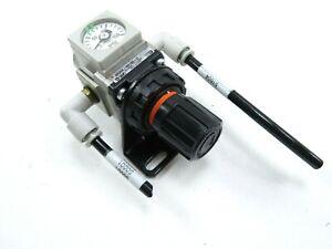 SMC AR20K-N01BE-Z Pressure Regulator w/ SMC Pressure Gauge 0-150 PSI