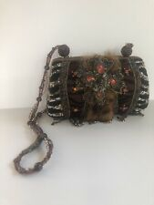 Authentic Mary Frances beaded handbag evening purse with fur accents.See photos~