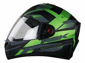Steelbird Street Bike Full Face Helmet with Plain Visor Large Matt Black/Green