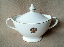 ENGLISH ROYAL DOULTON PORCELAIN ARMORIAL SUGAR BOWL WITH RUSSIAN COAT OF ARMS