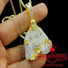 Plata de Ley Baño Oro Amarillo Diamante Laboratorio Colgante Buda Cadena Charm