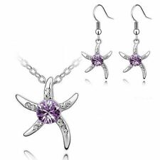 Women's Silver Starfish Necklace & Earrings Set Purple Crystal Stone Gift UK