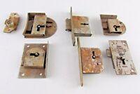 Lot of 7 Antique Vintage flush mortise Lock restoration desk clock cabinet
