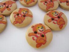 """10 Brown Bear Sewing Buttons 15mm (5/8"""") Childrens Teddy Bear Cartoon Buttons"""