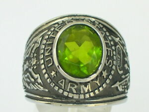 Stainless Steel United States Army Military August Peridot Men Ring Size 15