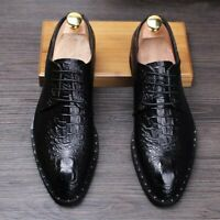 Mens Wing Tip Lace Up Pointed Toe Brogue Leather Oxfords Dress Formal Shoes Chic