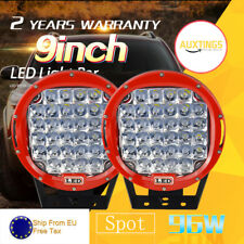 2X 9'' 96W LED Work Light Big Round Driving Lamp for Jeep SUV Spot CREE 4WD Red