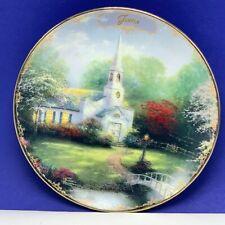 Thomas Kinkade plate Bradford Simpler time cottage June Hometown chapel church