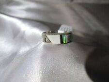 Navajo White Buffalo Turquoise Sterling Silver Ring Handmade Size 8.5 Stunning
