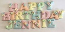 EDIBLE SUGARPASTE ICING PASTEL HAPPY BIRTHDAY + NAME LETTERS CAKE TOPPERS