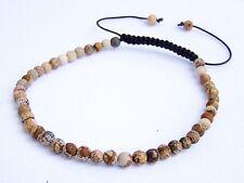 Delicate Natural Gemstone Men's Shamballa bracelet all 4mm PICTURE JASPER beads