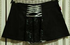 LIVING DEAD SOULS Black Lace Up Stretch Mini Skirt S 31.5″ W Skater Rockabilly