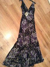 "BNWT "" Monsoon "" Size 8 Silk Maxi Dress Black Gold Floral (36 EU)Cruise Weddings"