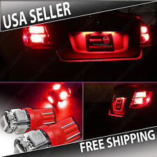 NEW 2 pc RED LED Exterior Tag License Plate Light BULB SMD T10 194 168  Wedge
