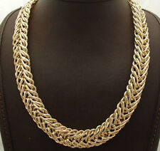 Technibond Bold Double Corinthian Chain Necklace 14K Yellow Gold Clad Silver