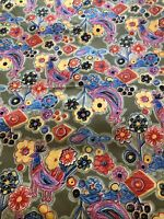 Vtg Retro Stretchy Polyester Hippie Groovy  Fabric 2+yds  Flower Gray 60s-70s?