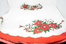 """Vintage Christmas Tablecloth Round 67"""" Red Green White Red Poinsettia's"""