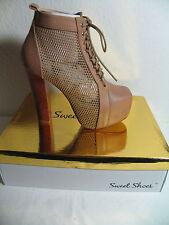 Italienische Damen Plateau Sommer Stiefeletten  Gr. 36  Farbe Khaki -Sweet Shoes